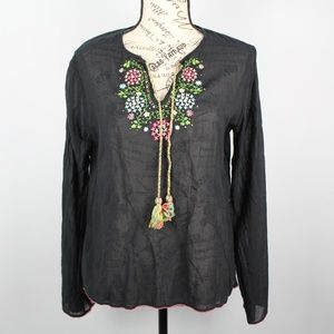 Lucky Brand SemiSheer Embroidered Top